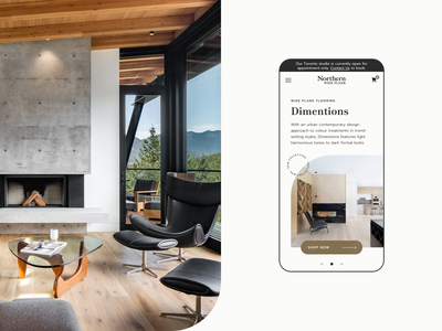 Northern Wide Plank Mobile Design responsive mobile wood style product interior floor homepage ux ui design e-commerce clean