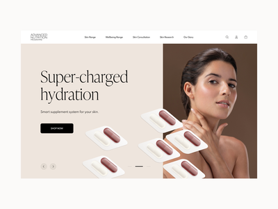 Advanced Nutrition - Homepage Concept nutrition e-commerce design health vitamins shopify beauty product supplements ux ui clean