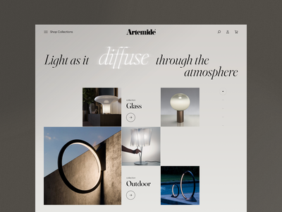 Artemide - Homepage Concept style layout collections product homepage web ui ux design e-commerce clean lighting interior