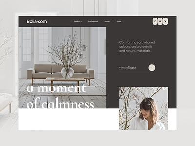 Bolia - Homepage Concept new shopify product sofa furniture homepage ui web ux design e-commerce clean