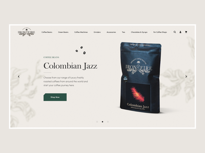 Iron & Fire - Homepage Concept modern authentic new product beans coffee web homepage ux ui design e-commerce clean