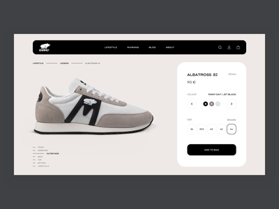 Karhu - Product Page Concept minimalistic fashion new style leisure sport sneakers shoes shopify product web ui ux design e-commerce clean