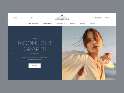 Georg Jensen - Homepage Concept style new luxury elegant jewellery product shopify homepage web ux ui design e-commerce clean