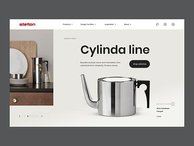 Stelton - Homepage Concept shopify product classic timeless appliances kitchen teapot kettle minimalistic modern homepage web ui ux design e-commerce clean