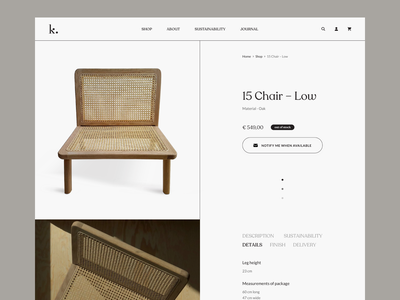 Kovac Family - Product Page Concept luxury new minimalistic style contemporary sustainable product web ui ux design e-commerce clean