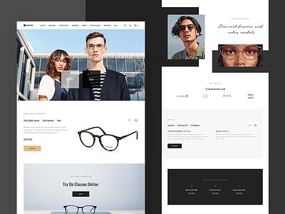 Mister Spex Redesign white web ux ui homepage glasses fashion e-commerce design contrast clean black