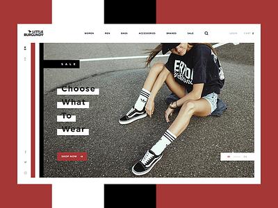 Little Burgundy Shot white web ux ui homepage hero fashion e-commerce design contrast clean black