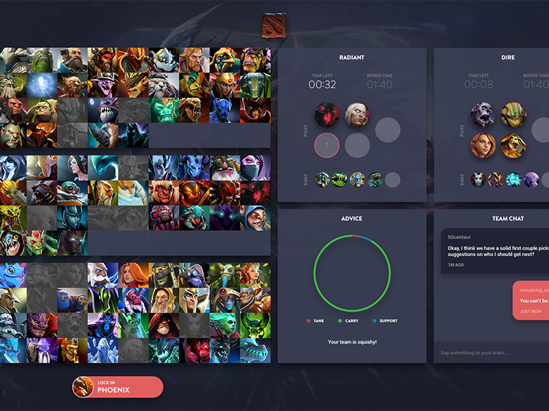 Dota 2 Captains Draft Mode Redesign by Omar Amin on Dribbble