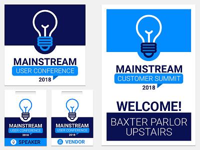Mainstream User Conference Materials poster lanyard logo