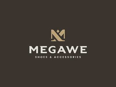 Megawe Logo gery meleg identity france gold modern luxury accessories shoes design logo branding
