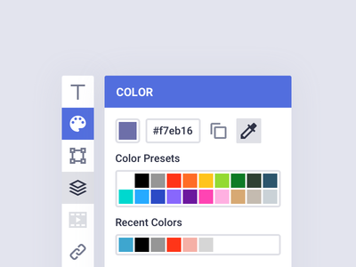Color Picker / Toolbar Shot - Bannersnack gui interface icons editor ui ux design slider presets toolbar picker color