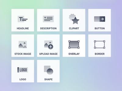 Custom - Gradient Icon Set floating 3d layers block elements hover gradient set design icon