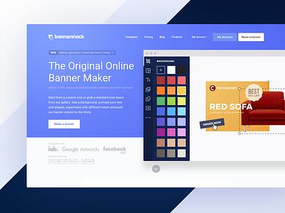 Bannersnack homepage Hero Image 2017 website headline page landing software app design header image hero homepage