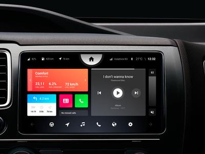 Car Dashboard UI player music integration mobile touch interface ux ui digital dashboard car