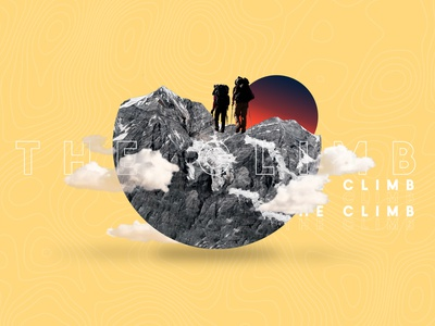 The Climb Spring Retreat - yellow youth group hiking climbing sanctification church clouds mountains retreat message student ministry