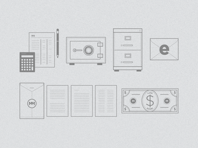 Animation Assets logo typography design branding illustration icons iconography lending forms money email calculator filing cabinet safe taxes pencil mortgage movement closing