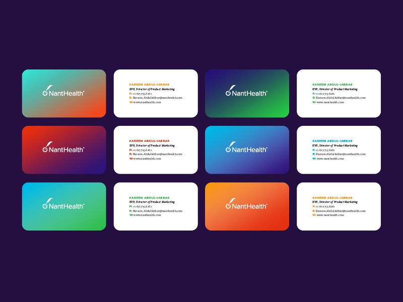 Business Cards gradient nanthealth mockup cards business