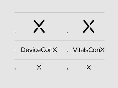 VCX-DCX branding typography design icon icons iconography medical healthcare logos logo design logotype logo c d x vitals conx device care connected