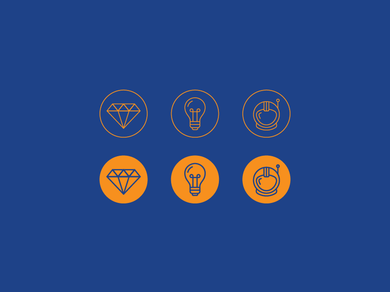 Icons space astronaut pioneer helmet bulb light collaboration clarity diamond values core