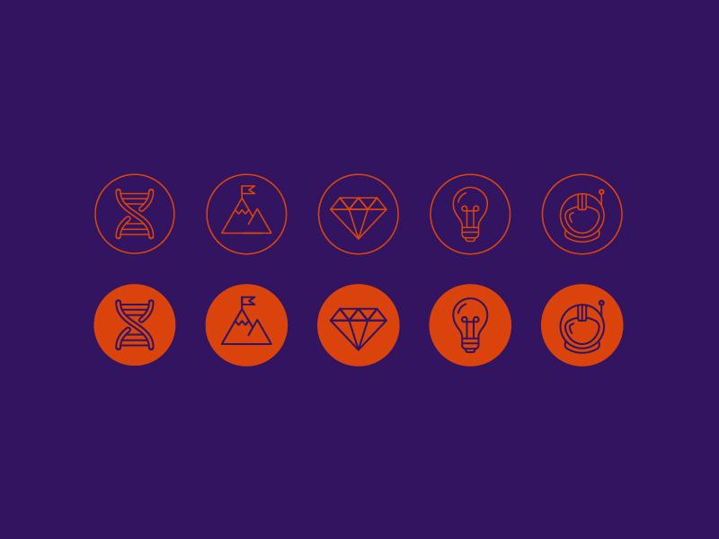 Icons dna space astronaut pioneer helmet bulb light collaboration clarity diamond values core