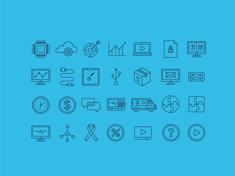 Icons technology clock money ambulance packages chart puzzle package machine learning processor chip target medicine iconography icon cloud healthcare illustration design icons