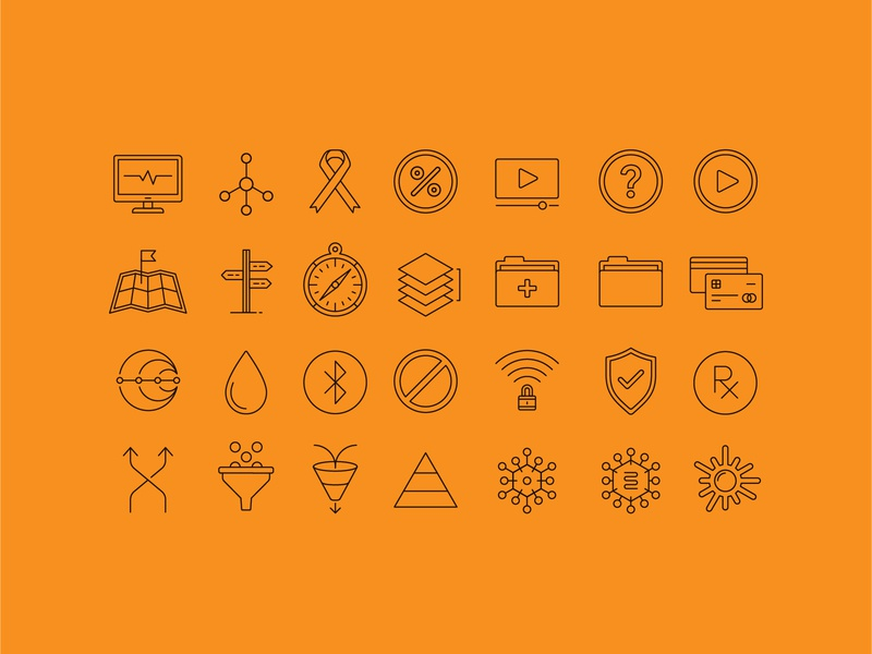 Icons monitor ribbon information folder compass direction roadmap medical medicine iconography map bluetooth healthcare prescription virus security cancer it icons icon
