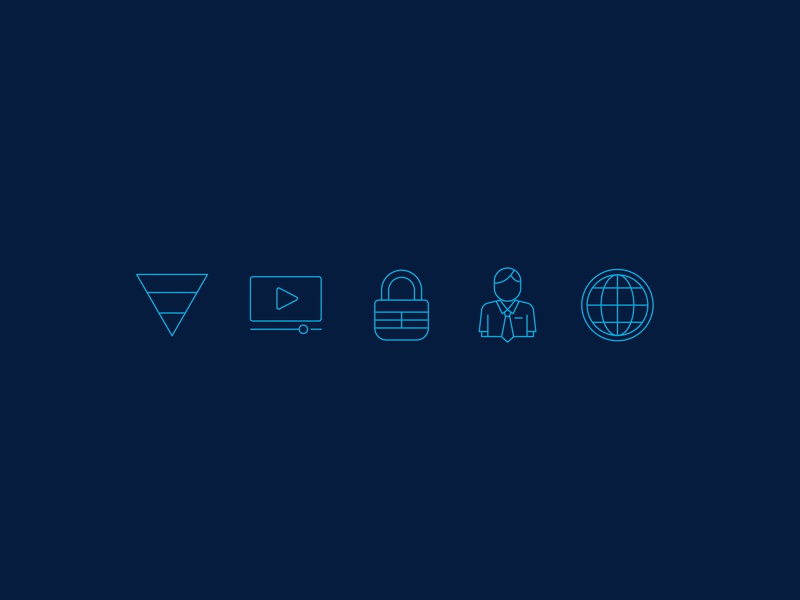 Icons refine evidence science security technology iconography icons icon person play world globe global employee encryption secure lock strata funnel video