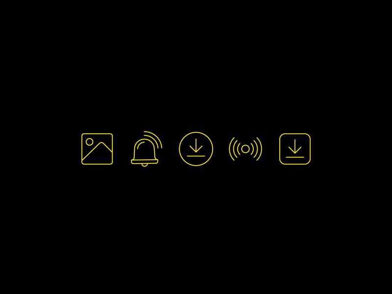 Icons wifi reception hotspot download bell alarm image minimal animation flat web ux vector ui illustration icon branding design icons iconography