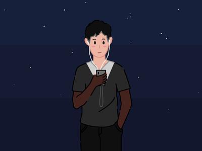 一个人-Alone. gleam alone man adobe illustration