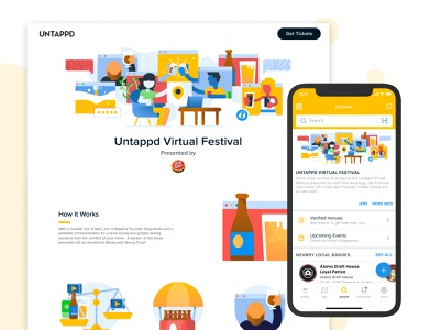 Untappd Virtual Festival 2020 ux ui website vector flat web branding illustration
