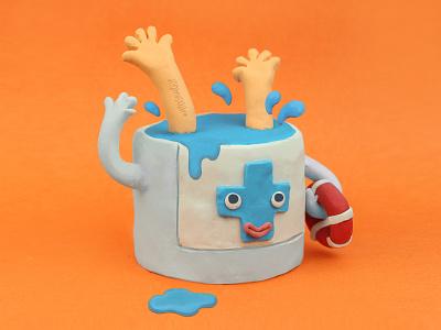 Drowning in disinfectants! covid19 quarantine hands wash clayrender plasticine sculpt art artist handmade clay design