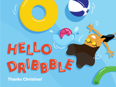 Hi Dribbble! swim life saver beach noodle beach ball floaties water splash summer pool new