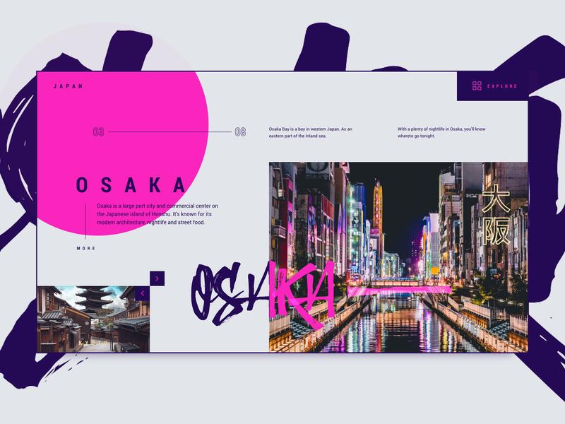 Osaka neon bright vibrant travel webdesign kyoto osaka japan