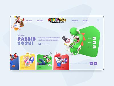 Mario + Rabbids nintendoswitch switch peach luigi yoshi characters webdesign 3d game gameui ubisoft rabbids mario
