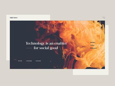 Tech concept website orange drips ink