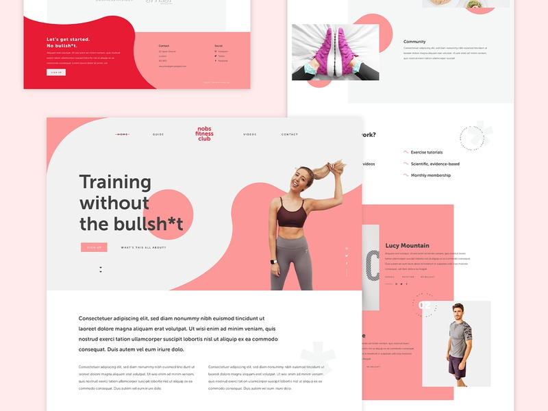 No bullsh*t fitness fitness club fitness blobs curve fun ui websites website design