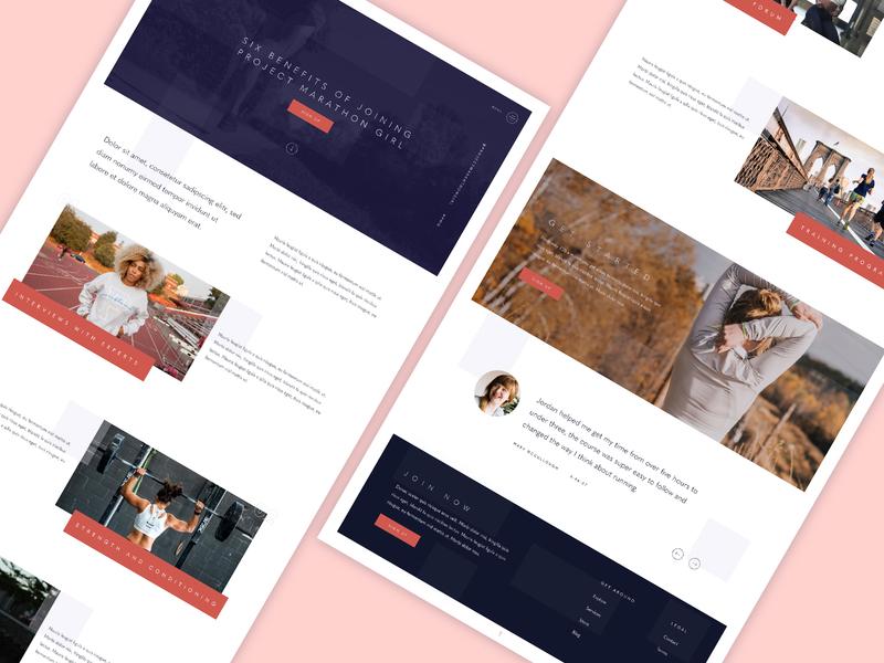 Project marathon girl benefit minimal clean website website design marthon run
