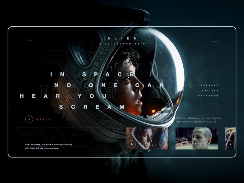 Alien 1979 movie ui concept alien webdesign