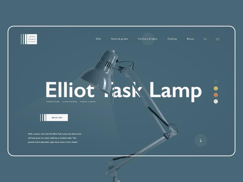 Elliot task lamp john lewis lamp light product page product design website design website