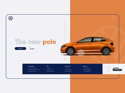 Volkswagen polo product range bright ui product design webdesign website volkswagen car
