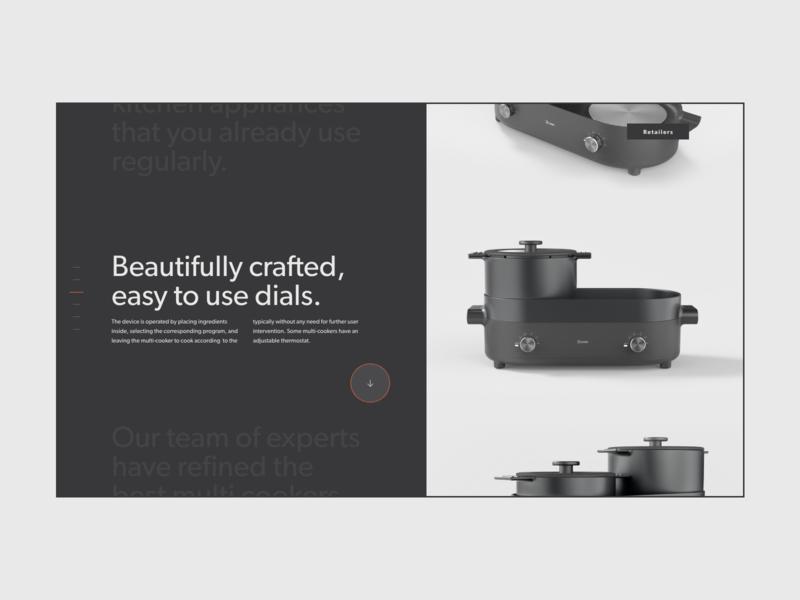 2cook modernist typography dark product design website minimal cooker