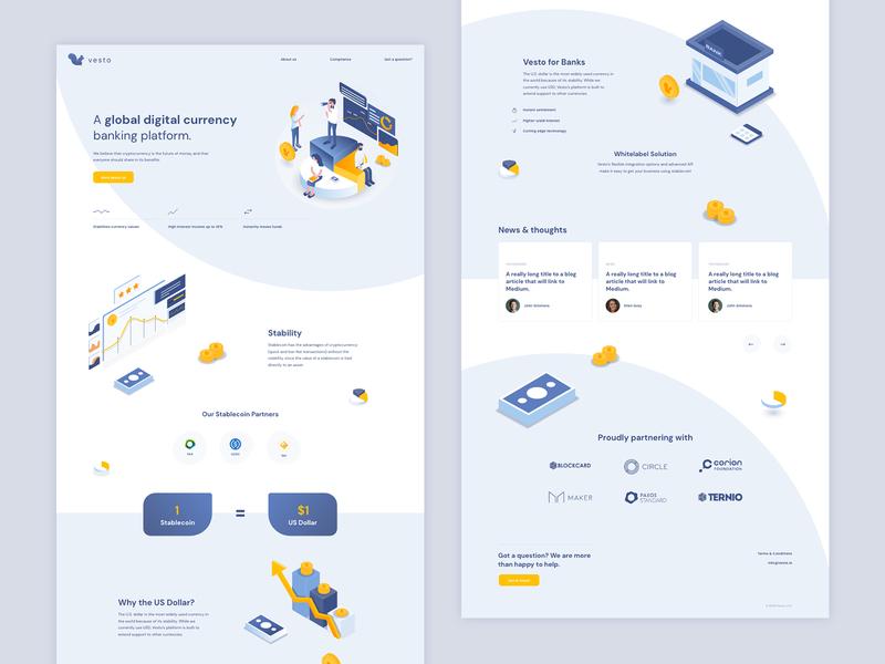Vesto user experience userinterface landing page website webdesign illustration banking