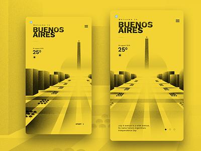Bsas App Dribble design ui buenos aires city yellow illustration uidesign