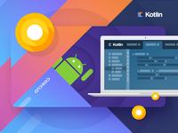 Kotlin for Android development Railsware blog-post illustration.