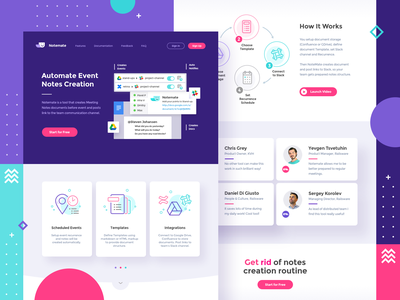 Notemate App Landing Design - 1st version green lilac pink button schema icon flat vivid logo vector simple graphic concept design