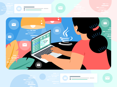 Sending Email Using Java – Latest Guide blog concept green character blue vector vivid simple illustration clean design flat