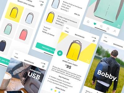 Mobile e-commerce concept. Bobby backpack. e-commerce app yellow backpack light modern mobile mobile ui ui interface vector green simple clean concept design flat