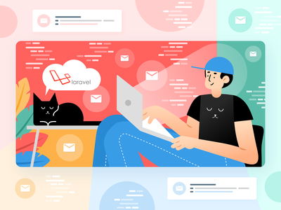 Sending Emails in Laravel – All You Want to Know laravel email red notebook cat character blue green vector vivid simple illustration graphic concept clean design flat