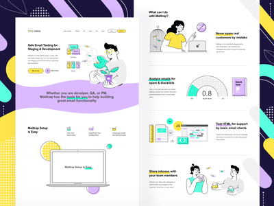 New landing design (Mailtrap, people, new color palette) icon light lilac green vector concept character interface simple vivid illustration graphic design clean flat