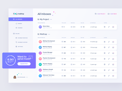 Mailtrap Application Interface dashboard rows table navigation blue green lilac vector ui app light icon interface vivid simple flat design graphic concept clean